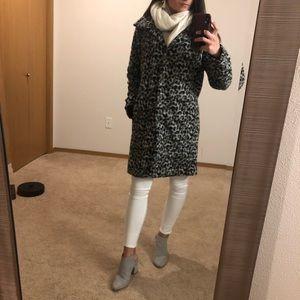 Leopard animal print wool blend light coat